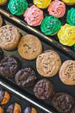 Close up of bakery display case royalty free stock image