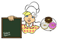 Bakery Donut Girl Chef Illustration Stock Photos