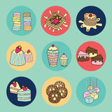 Bakery doodle menu icons in circle Royalty Free Stock Photo