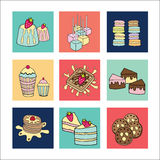 Bakery doodle menu icons square Royalty Free Stock Images