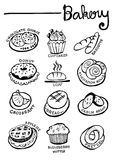 Bakery Doodles Hand Drawn  Stock Images
