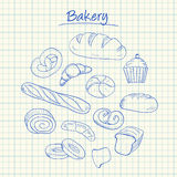Bakery doodles - squared paper Stock Image
