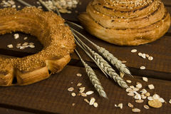 Bakery and ears of wheat stock photos