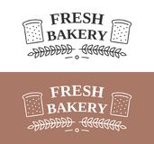 Bakery Emblem. With bread and laurel wreath stock illustration