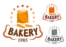 Bakery emblem with flour and wheat ears Royalty Free Stock Image
