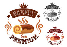Bakery emblem with swiss roll cake Royalty Free Stock Photography