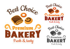 Bakery emblems with buns and bagel Royalty Free Stock Photos