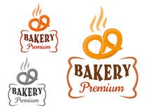 Bakery emblems with fresh pretzel Royalty Free Stock Photography