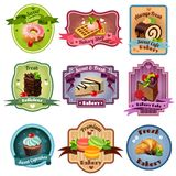 Bakery Emblems Set. Premium quality bakery emblems set with sweets and pastry isolated vector illustration royalty free illustration