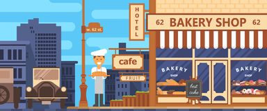 Bakery facade. Bakery facade. Crossroads of the metropolis. Bakery beginning of the 20th century. Retro style. Cakes and bread. Flat vector Royalty Free Stock Photos