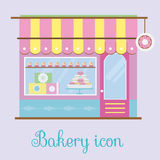 Bakery facade view. Bakehouse icon. Pastry store, patisserie, candy shop. Vector illustration. Bakery facade view. Bakehouse icon. Pastry store, patisserie Royalty Free Stock Images