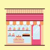 Bakery facade view. Bakery facade. Storefront view. Pattiserie, candy shop icon with cakes and cupcakes vector illustration