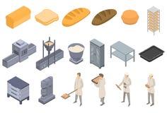Bakery factory icons set, isometric style. Bakery factory icons set. Isometric set of bakery factory vector icons for web design isolated on white background royalty free illustration