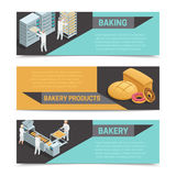 Bakery Factory Isometric Banner Set Stock Image