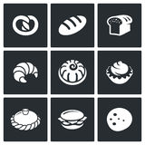 Bakery and fast food icon set stock illustration