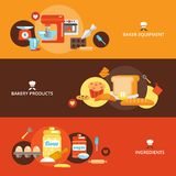 Bakery flat banner set. With products ingredients baker equipment isolated vector illustration Stock Image