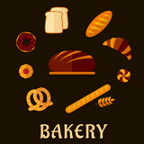 Bakery flat icons with breads and pastry Royalty Free Stock Photos