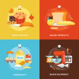 Bakery flat icons set Royalty Free Stock Photos