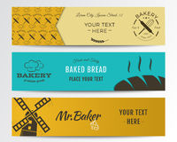 Bakery and food banners collection. Banner set Royalty Free Stock Photo