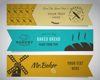 Bakery and food banners collection. Stickers set Royalty Free Stock Images