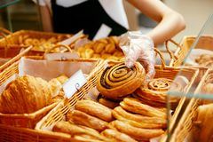 Bakery Food. Fresh Pastries In Pastry Shop royalty free stock photography