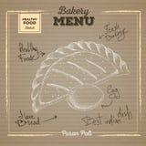 Bakery food illustration on cardboard background. Puran poli Stock Photos