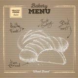 Bakery food illustration on cardboard background. Wheat bread Royalty Free Stock Image