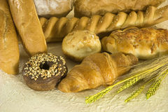 Bakery foods. And wheat leaves Royalty Free Stock Image