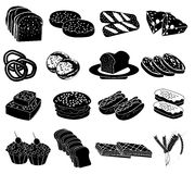 Bakery foods icons set Royalty Free Stock Image