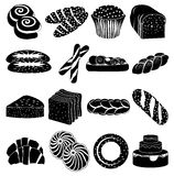 Bakery foods icons set Stock Images