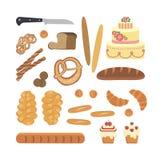 Bakery foodstuffs set Royalty Free Stock Photo