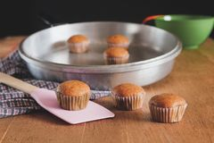 Bakery fresh banana cup cake hot from oven. Home made food stock photography