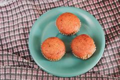 Bakery fresh banana cup cake hot from oven. Home made food stock images