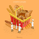 Bakery fresh basket pastry concept. Flat 3d isomet Royalty Free Stock Images