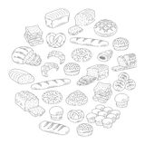 Bakery fresh bread collection doodle style vector illustration. Royalty Free Stock Photo