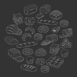 Bakery fresh bread collection doodle style vector illustration. Royalty Free Stock Photography