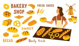 Bakery funny doodle set. Cute cartoon woman, food market seller with bread. Hand drawn vector illustration with lettering stock photo