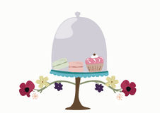 Bakery glass bell jar. Illustration of a glass bell jar with macaroons and a cupcake Stock Photography