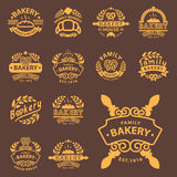 Bakery gold badge icon fashion modern style wheat vector retro food label design element . Royalty Free Stock Image