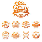 Bakery gold badge icon fashion modern style wheat vector retro food label design element isolated. Royalty Free Stock Photo