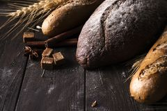Bakery - gold rustic crusty loaves of bread and buns on black background. royalty free stock images