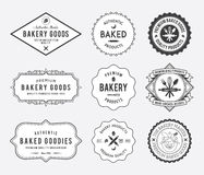 Bakery goods badges black and white Stock Photography