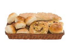Bakery goods in basket Stock Photography