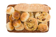 Bakery goods in basket. On white background Royalty Free Stock Photography
