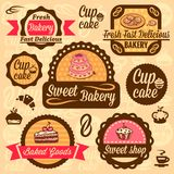 Bakery goods labels. Elegant Vector Bakery Labels And Badges Set. All elements are grouped stock illustration