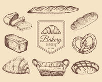 Bakery goods and sweets sketches set.Vector hand drawn bread illustrations for cafe,restaurant menu,food store logo etc. Bakery goods and sweets sketches set Royalty Free Stock Photos