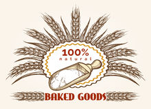 Bakery goods vintage emblem. Fresh bread sketch logo vector template stock illustration