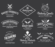 Bakery goods white badges Royalty Free Stock Photos