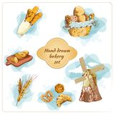 Bakery hand drawn decorative elements set Royalty Free Stock Photos