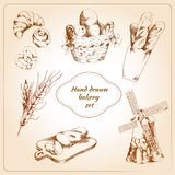 Bakery hand drawn icons set Stock Photos